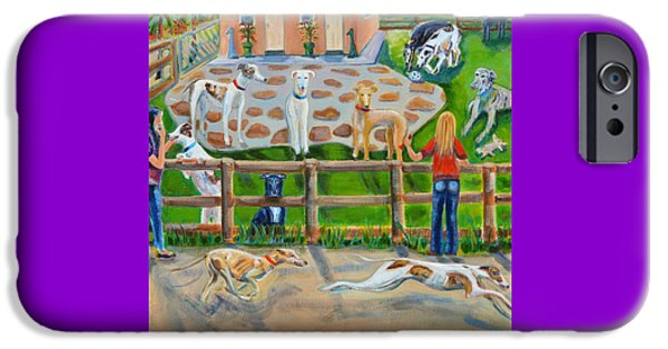Rescued Greyhound iPhone Cases - Sonias Farm iPhone Case by Diane Hagg