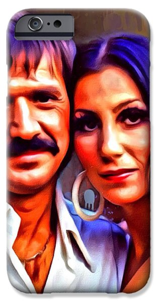 Digital Designs iPhone Cases - Sonny and Cher Portrait iPhone Case by Scott Wallace