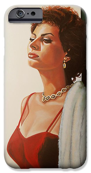Celebrities Art iPhone Cases - Sophia Loren 2  iPhone Case by Paul  Meijering