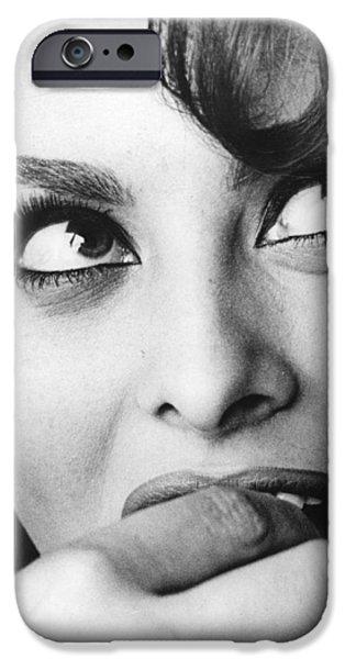 Red Carpet iPhone Cases - Sophia Loren Close up Portrait iPhone Case by Nomad Art And  Design