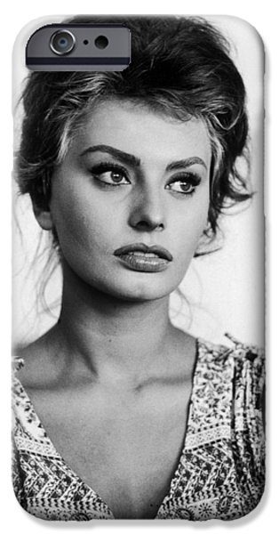 Red Carpet iPhone Cases - Sophia Loren in black and white iPhone Case by Nomad Art And  Design