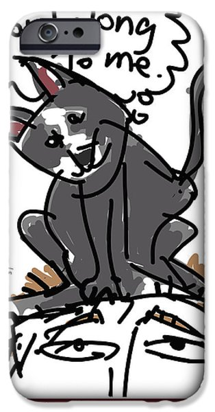 Owner Drawings iPhone Cases - Sorting Cat iPhone Case by Brett LaGue