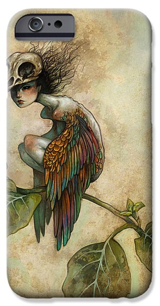 Macabre iPhone Cases - Soul of a Bird iPhone Case by Caroline Jamhour