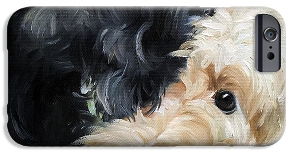 Scottish Terrier Art iPhone Cases - Soulmates iPhone Case by Mary Sparrow