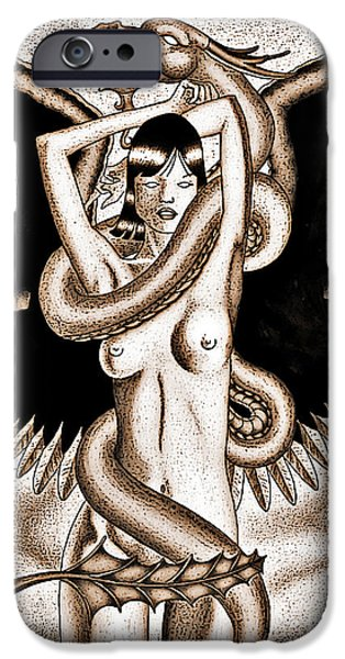 Serpent iPhone Cases - Souls Entwined Antiqued iPhone Case by Robert Ball
