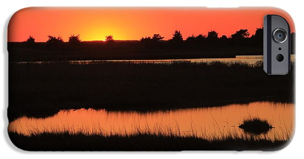 Mashpee iPhone Cases - South Cape Beach Marshes at Sunset iPhone Case by John Burk