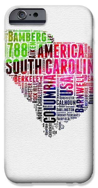July Mixed Media iPhone Cases - South Carolina Watercolor Word Cloud iPhone Case by Naxart Studio