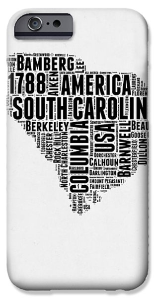 4th July Mixed Media iPhone Cases - South Carolina Word Cloud 1 iPhone Case by Naxart Studio