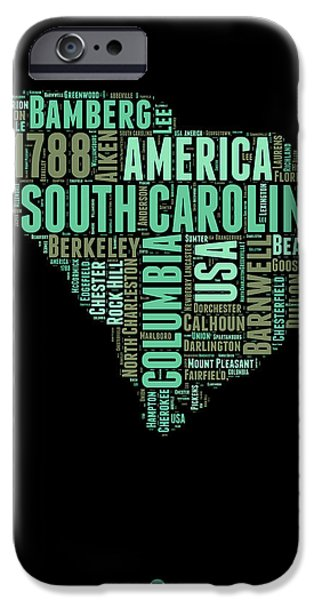 July Mixed Media iPhone Cases - South Carolina Word Cloud 2 iPhone Case by Naxart Studio