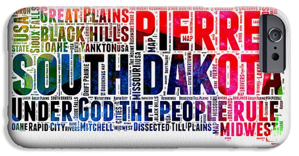 4th July Mixed Media iPhone Cases - South Dakota Watercolor Word Cloud iPhone Case by Naxart Studio