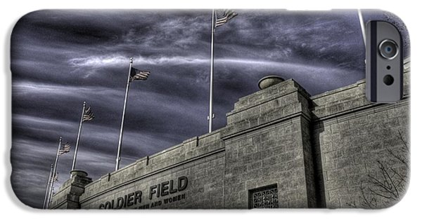 Soldier Field Photographs iPhone Cases - South end Soldier Field iPhone Case by David Bearden