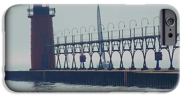 Lighthouse iPhone Cases - South Haven Lighthouse iPhone Case by Zully Bartley