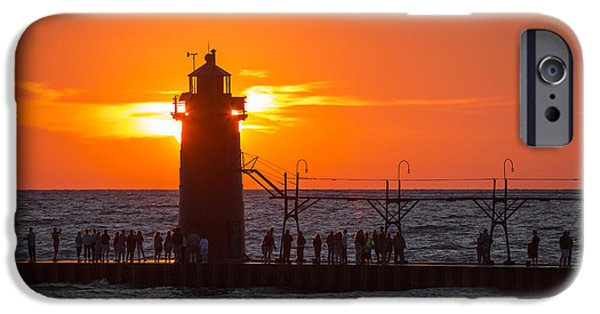 Chicago iPhone Cases - South Haven Michigan Sunset iPhone Case by Adam Romanowicz