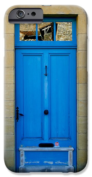 South of France rustic blue door  iPhone Case by Nomad Art And  Design