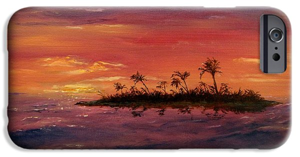 Jack Skinner Paintings iPhone Cases - South Pacific Atoll iPhone Case by Jack Skinner