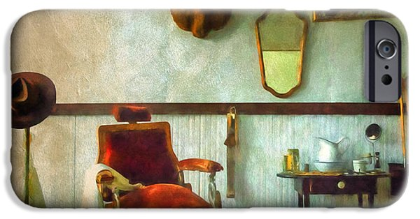 Rural iPhone Cases - South Pass City Barber Shop iPhone Case by Priscilla Burgers