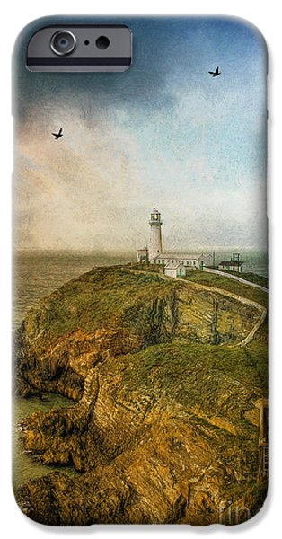 Storm iPhone Cases - South Stack Lighthouse iPhone Case by Ian Mitchell