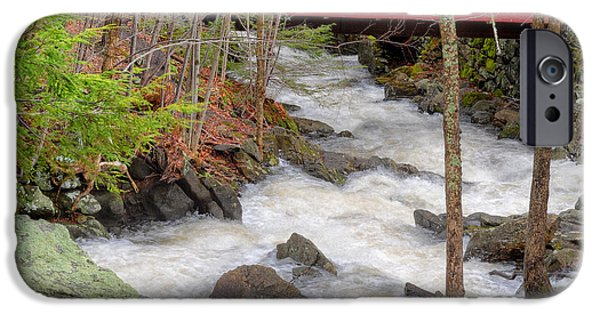 Covered Bridge iPhone Cases - Southford Falls State Park Square iPhone Case by Bill Wakeley