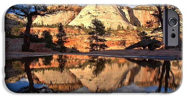 Zion Park iPhone Cases - Southwestern Desert Reflections iPhone Case by Adam Jewell