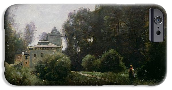 1796 iPhone Cases - Souvenir of the Villa Borghese iPhone Case by Jean Baptiste Camille Corot