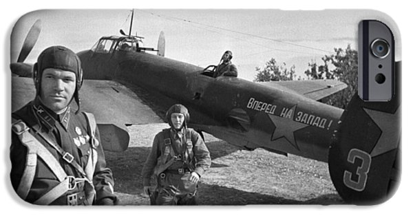 Aeronautics iPhone Cases - Soviet Pe-2 Bomber And Crew, 1942 iPhone Case by Ria Novosti