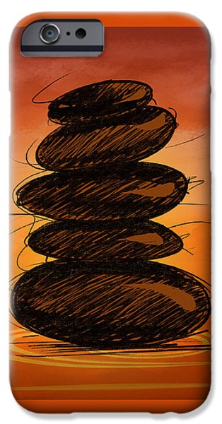 Buddhism Mixed Media iPhone Cases - Spa Stones iPhone Case by Bedros Awak