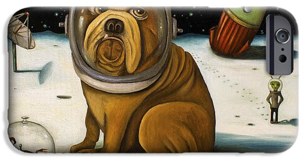 Puppies iPhone Cases - Space Crash iPhone Case by Leah Saulnier The Painting Maniac