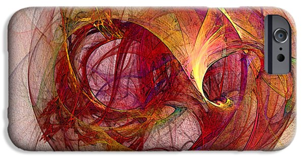Contemplative iPhone Cases - Space Demand Abstract Art iPhone Case by Karin Kuhlmann