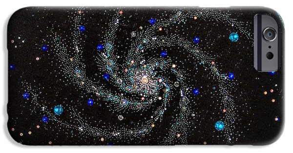 Handcrafted Jewelry iPhone Cases - Space galaxy beadwork art bead embroidery iPhone Case by Sofia Metal Queen