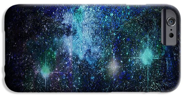 Constellations iPhone Cases - Blue galaxy iPhone Case by Kimberly  W