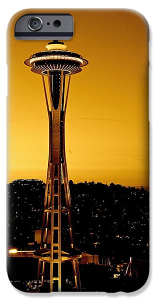 City Scape iPhone Cases - Space Needle #2 iPhone Case by Angie Wingerd