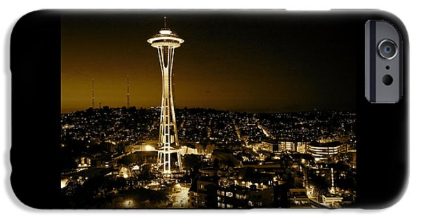 City Scape iPhone Cases - Space Needle #4 iPhone Case by Angie Wingerd