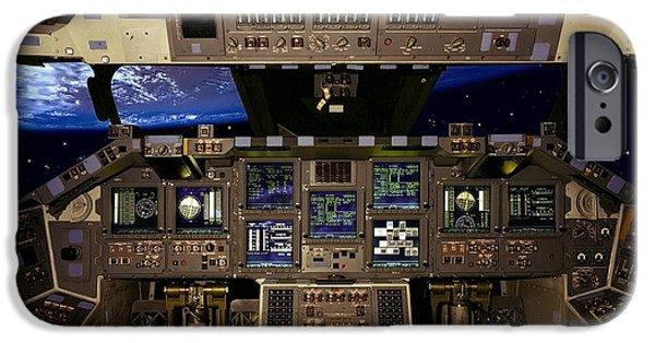 Cockpit Photographs iPhone Cases - Space Shuttle Pilot Command Console iPhone Case by Daniel Hagerman