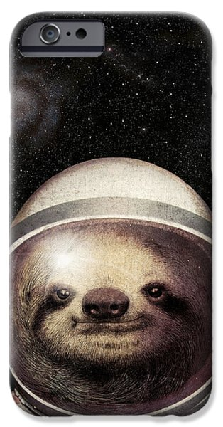 Sloth iPhone Cases - Space Sloth iPhone Case by Eric Fan