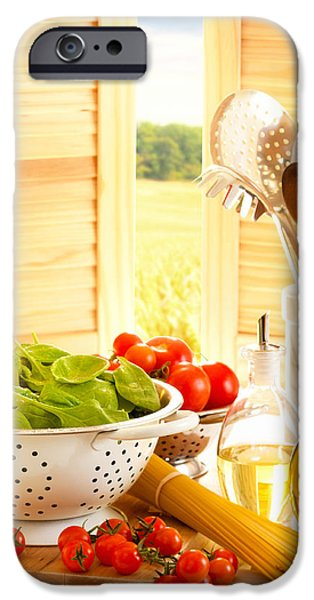 Meal iPhone Cases - Spaghetti and Tomatoes In Country Kitchen iPhone Case by Amanda And Christopher Elwell