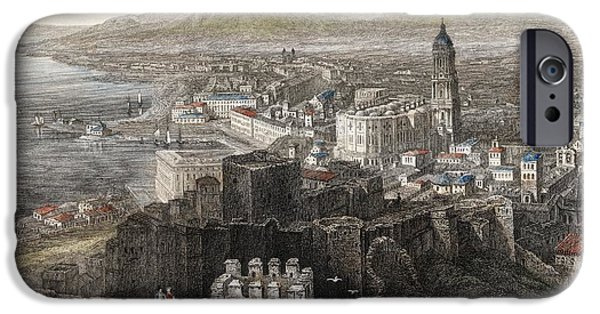 Malaga iPhone Cases - Spain, Malaga. General View. 1840 Steel iPhone Case by Ken Welsh