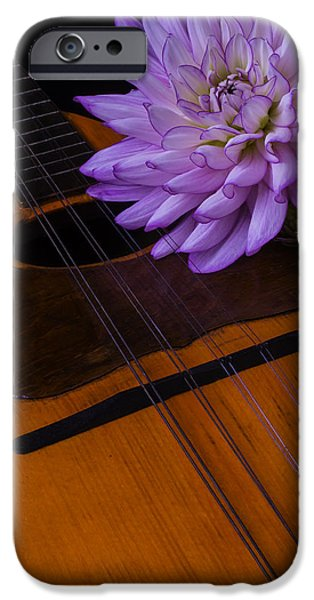 Hand-made iPhone Cases - Spanish mandolin And Dahlia iPhone Case by Garry Gay