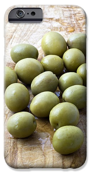 Olive iPhone Cases - Spanish Manzanilla Olives iPhone Case by Frank Tschakert