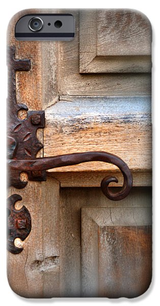 Spanish Mission Door Handle iPhone Case by Jill Battaglia
