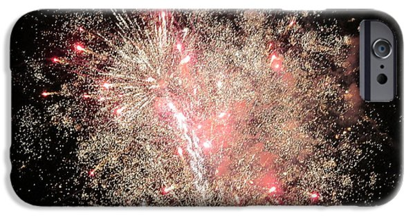 4th Of July iPhone Cases - Spark Spangled Night iPhone Case by M E Cieplinski