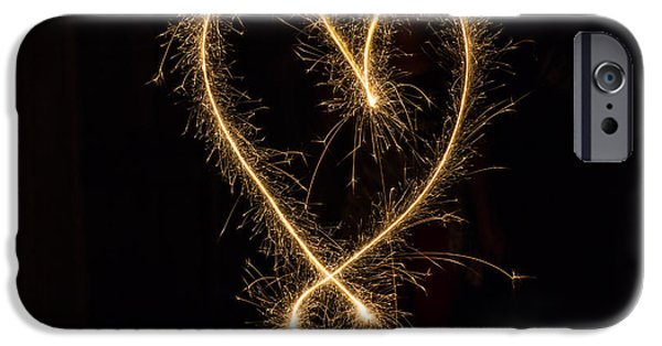 4th July Photographs iPhone Cases - Sparkler Heart iPhone Case by Ashley M Conger
