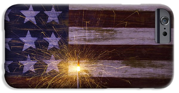 4th Of July iPhone Cases - Sparkler With American Flag iPhone Case by Garry Gay