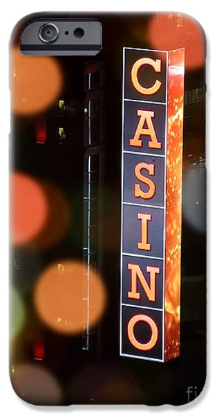 Design iPhone Cases - Sparkling Casino Lights iPhone Case by John Malone