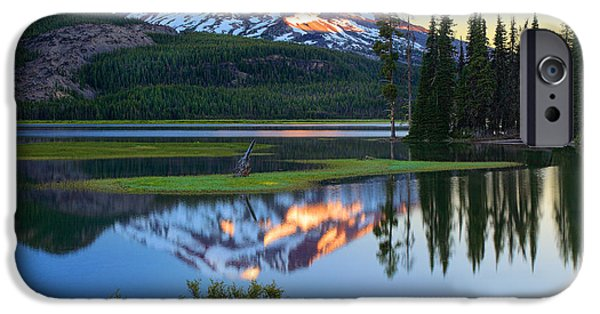 Snowy Day iPhone Cases - Sparks Lake Sunrise iPhone Case by Inge Johnsson