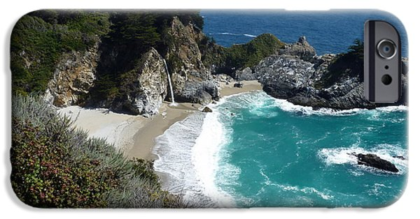United States iPhone Cases - Spectacular McWay Falls in Julia Pfeiffer Burns State Park iPhone Case by Carla Parris
