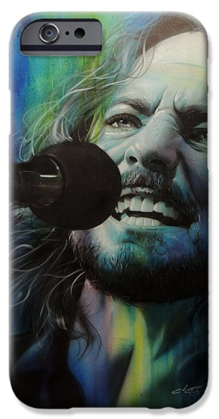 Pearl Jam Paintings iPhone Cases - Spectrum of Vedder iPhone Case by Christian Chapman Art