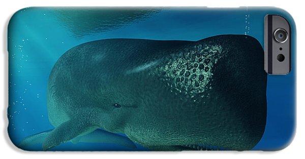 Whale Digital iPhone Cases - Sperm Whale iPhone Case by Daniel Eskridge