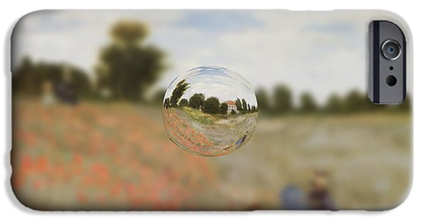 Red Abstract iPhone Cases - Sphere 9 Monet iPhone Case by David Bridburg