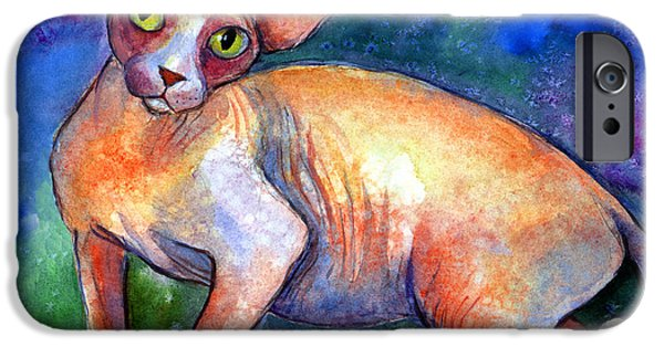 Cat Drawings iPhone Cases - Sphynx Cat 4 painting iPhone Case by Svetlana Novikova