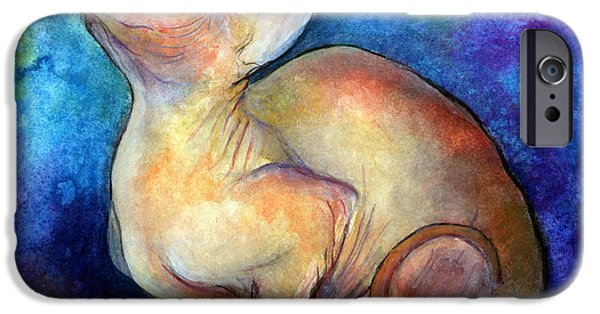 Cat Drawings iPhone Cases - Sphynx Cat 5 painting iPhone Case by Svetlana Novikova
